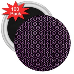 Hexagon1 Black Marble & Purple Glitter (r) 3  Magnets (100 Pack) by trendistuff