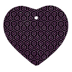 Hexagon1 Black Marble & Purple Glitter (r) Heart Ornament (two Sides) by trendistuff