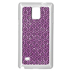 Hexagon1 Black Marble & Purple Glitter Samsung Galaxy Note 4 Case (white) by trendistuff