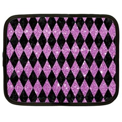 Diamond1 Black Marble & Purple Glitter Netbook Case (large) by trendistuff