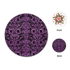 Damask2 Black Marble & Purple Glitter (r) Playing Cards (round)  by trendistuff