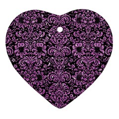 Damask2 Black Marble & Purple Glitter (r) Heart Ornament (two Sides) by trendistuff