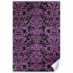 Damask2 Black Marble & Purple Glitter (r) Canvas 24  X 36  by trendistuff
