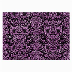 Damask2 Black Marble & Purple Glitter (r) Large Glasses Cloth by trendistuff