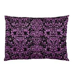 Damask2 Black Marble & Purple Glitter (r) Pillow Case