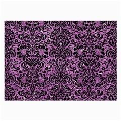 Damask2 Black Marble & Purple Glitter Large Glasses Cloth by trendistuff