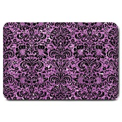 Damask2 Black Marble & Purple Glitter Large Doormat  by trendistuff