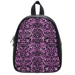 Damask2 Black Marble & Purple Glitter School Bag (small)