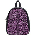 DAMASK2 BLACK MARBLE & PURPLE GLITTER School Bag (Small) Front