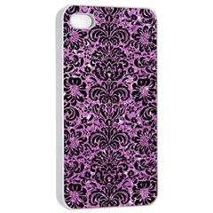 Damask2 Black Marble & Purple Glitter Apple Iphone 4/4s Seamless Case (white) by trendistuff