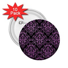 Damask1 Black Marble & Purple Glitter (r) 2 25  Buttons (10 Pack)  by trendistuff