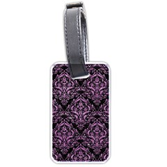 Damask1 Black Marble & Purple Glitter (r) Luggage Tags (two Sides) by trendistuff
