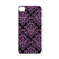 Damask1 Black Marble & Purple Glitter (r) Apple Iphone 4 Case (white) by trendistuff