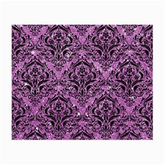 Damask1 Black Marble & Purple Glitter Small Glasses Cloth by trendistuff
