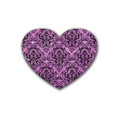 Damask1 Black Marble & Purple Glitter Rubber Coaster (heart)