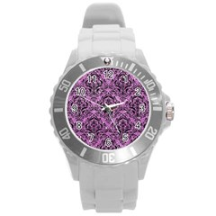 Damask1 Black Marble & Purple Glitter Round Plastic Sport Watch (l) by trendistuff