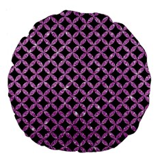 Circles3 Black Marble & Purple Glitter (r) Large 18  Premium Flano Round Cushions by trendistuff