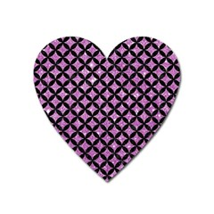 Circles3 Black Marble & Purple Glitter Heart Magnet by trendistuff