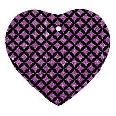 Circles3 Black Marble & Purple Glitter Heart Ornament (two Sides) by trendistuff