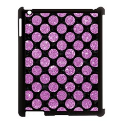 Circles2 Black Marble & Purple Glitter (r) Apple Ipad 3/4 Case (black) by trendistuff