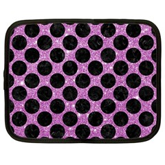 Circles2 Black Marble & Purple Glitter Netbook Case (large) by trendistuff