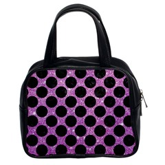 Circles2 Black Marble & Purple Glitter Classic Handbags (2 Sides) by trendistuff