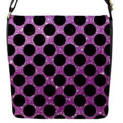 Circles2 Black Marble & Purple Glitter Flap Messenger Bag (s)