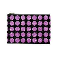 Circles1 Black Marble & Purple Glitter (r) Cosmetic Bag (large)  by trendistuff
