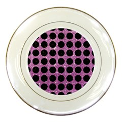 Circles1 Black Marble & Purple Glitter Porcelain Plates by trendistuff