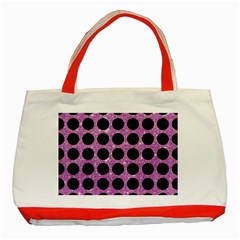 Circles1 Black Marble & Purple Glitter Classic Tote Bag (red) by trendistuff