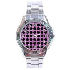 Circles1 Black Marble & Purple Glitter Stainless Steel Analogue Watch by trendistuff