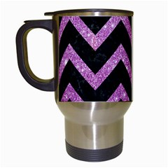 Chevron9 Black Marble & Purple Glitter (r)chevron9 Black Marble & Purple Glitter (r) Travel Mugs (white) by trendistuff