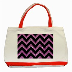 Chevron9 Black Marble & Purple Glitter (r)chevron9 Black Marble & Purple Glitter (r) Classic Tote Bag (red) by trendistuff
