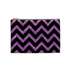 Chevron9 Black Marble & Purple Glitter (r)chevron9 Black Marble & Purple Glitter (r) Cosmetic Bag (medium)  by trendistuff