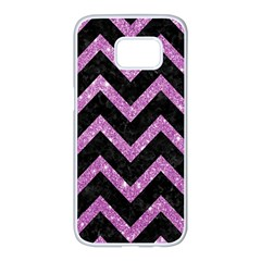 Chevron9 Black Marble & Purple Glitter (r)chevron9 Black Marble & Purple Glitter (r) Samsung Galaxy S7 Edge White Seamless Case by trendistuff