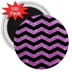 Chevron3 Black Marble & Purple Glitter 3  Magnets (100 Pack) by trendistuff