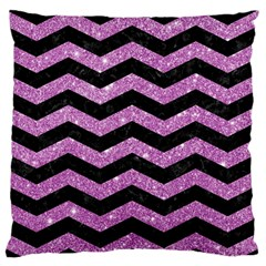 Chevron3 Black Marble & Purple Glitter Standard Flano Cushion Case (one Side) by trendistuff