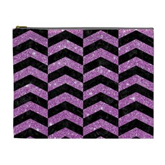 Chevron2 Black Marble & Purple Glitter Cosmetic Bag (xl) by trendistuff