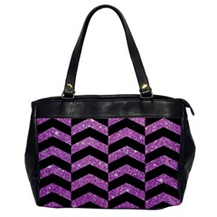 Chevron2 Black Marble & Purple Glitter Office Handbags by trendistuff
