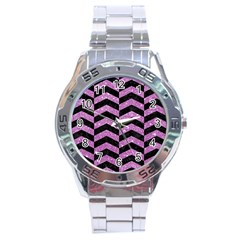 Chevron2 Black Marble & Purple Glitter Stainless Steel Analogue Watch by trendistuff