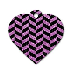 Chevron1 Black Marble & Purple Glitter Dog Tag Heart (one Side) by trendistuff