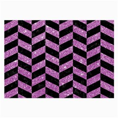 Chevron1 Black Marble & Purple Glitter Large Glasses Cloth by trendistuff