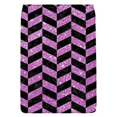 Chevron1 Black Marble & Purple Glitter Flap Covers (s)  by trendistuff