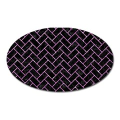 Brick2 Black Marble & Purple Glitter (r) Oval Magnet by trendistuff