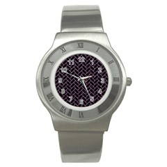 Brick2 Black Marble & Purple Glitter (r) Stainless Steel Watch by trendistuff