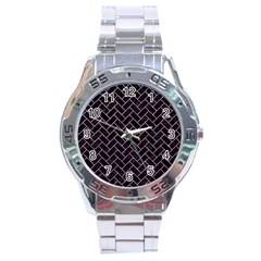 Brick2 Black Marble & Purple Glitter (r) Stainless Steel Analogue Watch by trendistuff