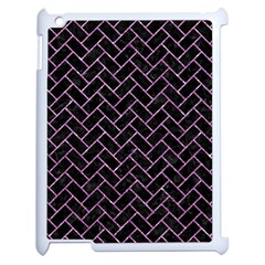 Brick2 Black Marble & Purple Glitter (r) Apple Ipad 2 Case (white) by trendistuff