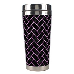 Brick2 Black Marble & Purple Glitter (r) Stainless Steel Travel Tumblers by trendistuff