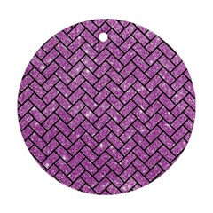 Brick2 Black Marble & Purple Glitter Round Ornament (two Sides) by trendistuff