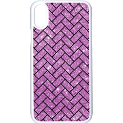 Brick2 Black Marble & Purple Glitter Apple Iphone X Seamless Case (white)
